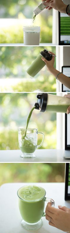 Encha Iced Coconut Matcha Latte for office or on the go. Very simple, only takes 2 minutes to make!