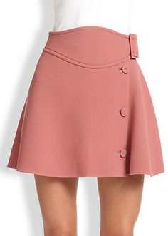 1c48d478157f9c Carven Wool Buttoned-Side Skirt