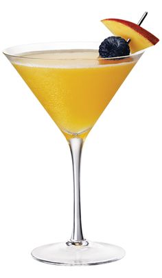 French Sparkle ~ 1 oz Chambord Flavored Vodka 1 oz Champagne 2 oz Mango Nectar Shake vodka and mango nectar with ice and strain into a chilled martini glass. Top with champagne. Garnish with a mango slice and a black raspberry.