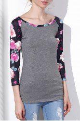Stylish Scoop Neck Floral Print 3/4 Sleeve Baseball T-Shirt For Women (BLACK GREY,L) | Sammydress.com Mobile