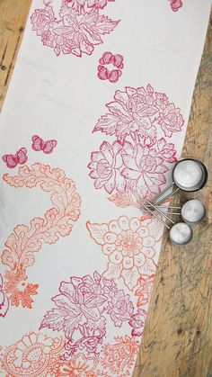 Linen Table Runner Hand block printed Eden In Bloom by papatotoro