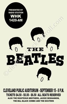 Beatles 1964 Cleveland Concert Poster by ClevelandRockAndRoll, $15.00