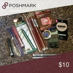 SOLD Bundle of different kinds of makeup Everything is new and still sealed.... 9 lip liners, colors are Deep Purple 32 petal, iced pink ,mahogany ,toast Brickstone ,cinnamon tea, spice , and nutmeg... 2 Line and seal Deep Purple, 1 eyeliner black , 1 lip stain Hudson , 1 Shadow eyez  green Safari 1 Milani eyeshadow mermaid, 1 Wet n Wild eyeshadow kit , 1 Milani lipstick and 1 physician formula cashmere Ware natural and 1 coverall pressed powder light Makeup