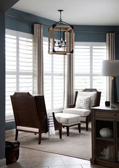 Furniture arrangement--two chairs facing each other with ottoman in between. design by Heather Scott Home & Design owner, Heather Blue Harkovich, photography by Ryann Ford photography Curtains With Plantation Shutters, Drapes And Blinds, Drapery Panels, Living Room Windows, My Living Room, Home And Living, Interior Design Studio, Interior Design Living Room, Home Craft Decor