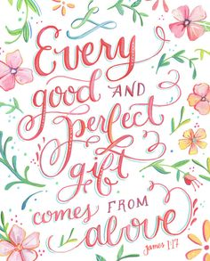Every Good and Perfect Gift is From Above - art print - James 1:17 #affiliate #bible #home #decor #scripture wall art
