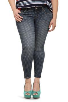 Torrid Denim - Polka Dot Ankle Zip Stiletto Jeans