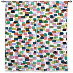 RETRO MOD DOTS 1 Polka Dots Orange Blue Green Pink Art Window Curtains by EbiEmporium