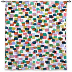 RETRO MOD DOTS 1 Polka Dots Orange Blue Green Pink Art Window Curtains by EbiEmporium