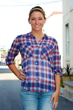 Sheer Plaid Button Down #May23Online $34.00