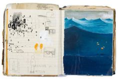 Wonderful pages of a sketchbook by Oliver Jeffers. I love his work, he's also SO brave.