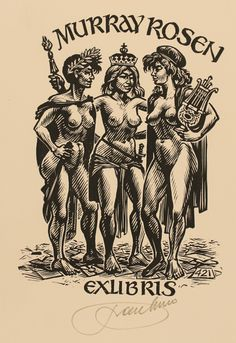 Exlibris by Frank-Ivo van Damme from Belgium for Murray Rosen - Group Woman Nude - Wood engraving Ex Libris, Vintage Artwork, Vintage Posters, Drawing S, Art Drawings, Exotic Art, Scratchboard, Star Wars Art, Opus