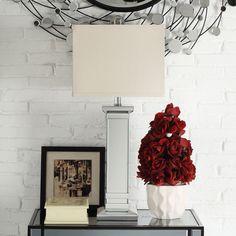 Oxford Creek Victoria Mirrored 1-Light Table Lamp, Silver