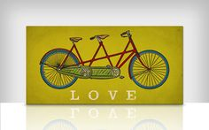 Custom PERSONALIZED Tandem BICYCLE bike LOVE ready to hang stretched canvas wall art 8x16x1.5 via Etsy