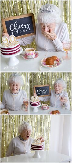 CUTEST CAKE SMASH EVER!!!! Cheers Bitches! ChalkBoard Sign. Royal Albert Trio. Madelines. French Breakfast. Birthday Cake. Turning 90. 90th birthday. Cute Old Lady. Layered Cake. Madelines. Adelaide Photographer 90 year old birthday cake smash copyright Pardon my French Photography