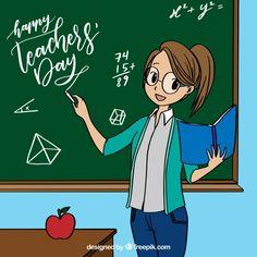 Maestra junto a la pizarra en estilo de anime Vector Gratis