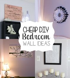 Do you need some cheap bedroom wall ideas? Here are a few things to get your creative juices flowing! We used inexpensive things plus other items we already had around the house and you'll be amazed what we came up with. Take these ideas and adapt them to your own bedroom or any room for that matter! (These are part of our Budget Bedroom Makeover series: http://bit.ly/budgetbedroomseries )