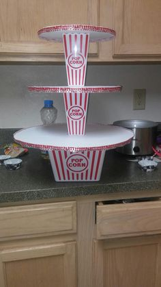 Carnival popcorn cupcake stand