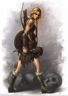Female Human Warrior - High fantasy digital painting by Steve Argyle Dark Fantasy, Fantasy Women, Fantasy Rpg, Fantasy Girl, Dnd Characters, Fantasy Characters, Female Characters, Character Concept, Character Art