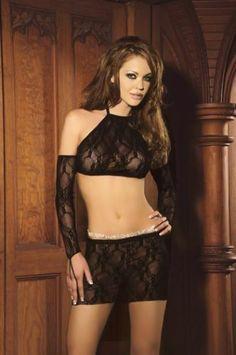 $16.99 No Tax Free Shipping  Elegant Moments 3pc Black Lace Set Mini Skirt Halter Top & Gloves One Size