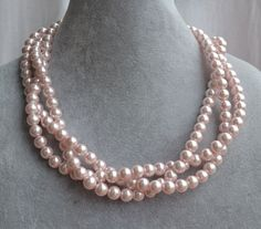 For Jamie. pale pink pearl Necklace,Glass Pearl Necklace, Triple Pearl Necklace,Wedding Necklace,bridesmaid necklace,Jewelry