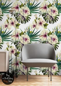 Hibiscus flowers / Tropical decor / Watercolor Removable wallpaper by floralCOLORAY Wallpaper, Decor, Mural Wall Art, Removable Wallpaper, Wall, Tropical Decor, Flower Wallpaper, Removable Wall Murals, Wall Coverings