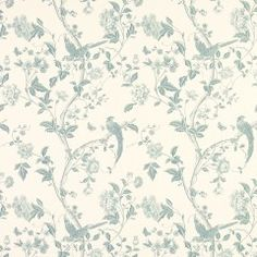 Laura Ashley Summer Palace Wallpaper in Off White / Duck Egg Blue x 2 Rolls NEW Feature Wallpaper, Of Wallpaper, Pattern Wallpaper, Bedroom Wallpaper, Paisley Wallpaper, Kitchen Wallpaper, Wallpaper Ideas, Floral Curtains, Blue Curtains
