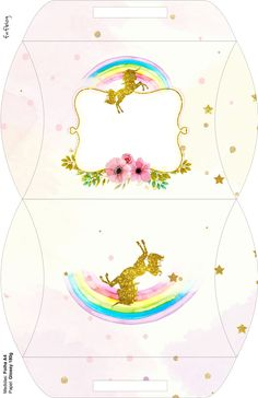 Fiesta de Unicornios: Cajas para Imprimir Gratis. Unicorn Themed Birthday Party, Unicorn Party, Birthday Party Themes, Carousel Party, Baby Boy Cards, Party In A Box, Printable Planner Stickers, Rainbow Baby, Animal Party