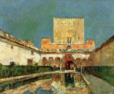 Posilippo - Childe Hassam - The Alhambra (aka Summer Palace of the Caliphs,Granada Spain)-1883-