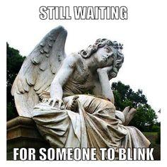 Doctor Who meme + weeping angel + blink.