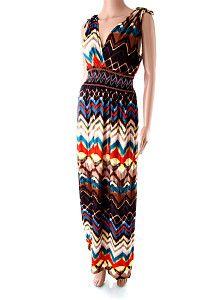 da8dbf965019 Farebné dlhé letné šaty Mercury Dlhé ľahké pestrofarebné padavé letné šaty  s hnedým základom s véčkovým