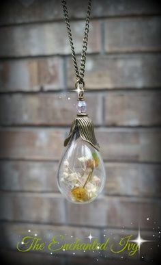Botanical Romantic Vintage Style Nature Inspired Dried Flower Glass Teardrop Pear Shared Pendant Necklace by TheEnchantedIvy on Etsy