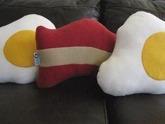 Plush Bacon and Eggs Pillow Set - Geek Chic Home Decor. $65.00, via Etsy.