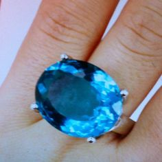 Big bold statement ring stamped 925 Blue quartz about 22x18mm stone size.  Huge stone faceted stunning deep blue Jewelry Rings