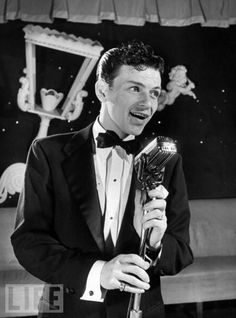 """That's life, that's what people say. You're riding high in April, Shot down in May. But I know I'm gonna change their tune, When I'm right back on top in June., """"The great Frank Sinatra"""" Love this photo of him."""
