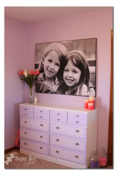 Sugar Bee Crafts: Giant Picture - tutorial! $13 to make this giant picture - need to try for above stairs to basement