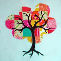 Pieced and appliqué tree block- you could do blocks for the whole year as it marks the progression using the same tree trunk/branches