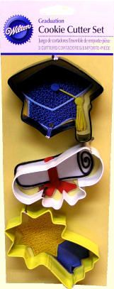 """3 PC. Graduation cookie Cutter Set   Black cap, white diploma and yellow shooting star. Each Measures approx. 3"""" to 3 1/2"""". Coated metal. (2308-1491) $3.69 http://www.candylandcrafts.com/graduationsupplies.htm"""