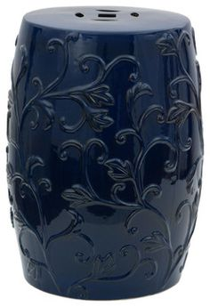 """18"""" Dark Blue Carved Flowers Porcelain Garden Stool contemporary-accent-and-garden-stools"""