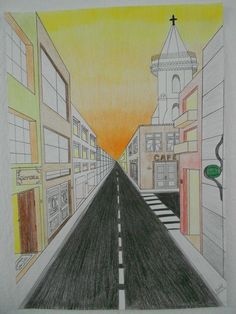 one point perspective.love the addition of an intersection one point perspective. Perspective Drawing Lessons, One Point Perspective, Perspective Art, Perspective Photography, 7th Grade Art, Middle School Art Projects, Creation Art, Ecole Art, Art Curriculum