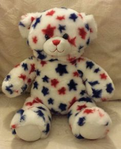 """Build A Bear BABW 14"""" Red Blue Star 4th of July Stuffed Animal Plush Toy w Sound #BuildABear #AllOccasion"""