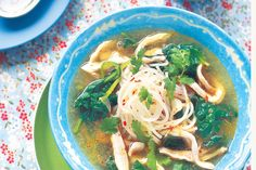 Thai chicken noodle soup with Asian greens http://www.taste.com.au/recipes/2425/thai+chicken+noodle+soup