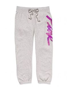 Victoria Secret PINK Limited Edition Bling Sequin Sweat Pants XS NWT Gray RARE