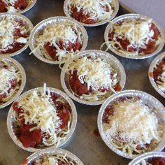 Individual spaghetti pie.   1 egg 1 pound thin spaghetti  1cup Parmesan cheese 8oz mozzarella cheese 1 jar ragu 1 can diced tomatoes Small disposable pie plates  Mix cooked pasta, half of Parmesan cheese, and egg white. Divide pasta into pie shells. Mix sauce and tomatoes. Add mushrooms if you like mushrooms. Divide tomato mixture among pie shells and top with mozzarella cheese.  bake for 35 minutes at 375° Mix egg white