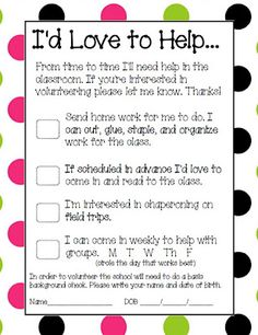 Classroom Freebies Too: Parent Volunteer Form#Repin By:Pinterest++ for iPad#