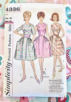 Vintage 1960s Womens Dress Pattern - Simplicity 4336 - Full Skirt - Uncut FF - Size 16 bust 36 by Fragolina on Etsy