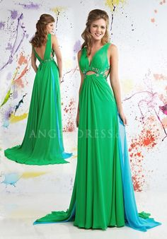 A line Sleeveless Straps With Beading Floor Length Chiffon Prom Dress