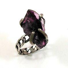 Raw Amethyst Steampunk Rock Ring - Handmade. Etsy.