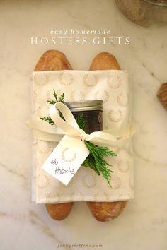 Homemade Hostess Gift!  Bread & Jam with darling block print tea towel.