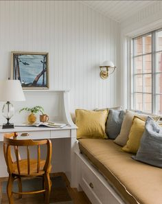A relaxing window seat adds to the ambiance of the small home office [Design: Carpenter & MacNeille] Home Interior, Interior Design, Fresh Farmhouse, Built In Desk, Built Ins, Cottage Interiors, French Interiors, Home Office Design, Home Decor Bedroom