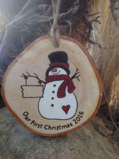 Our First Christmas personalized Snowman Ornament - made of white birch wood